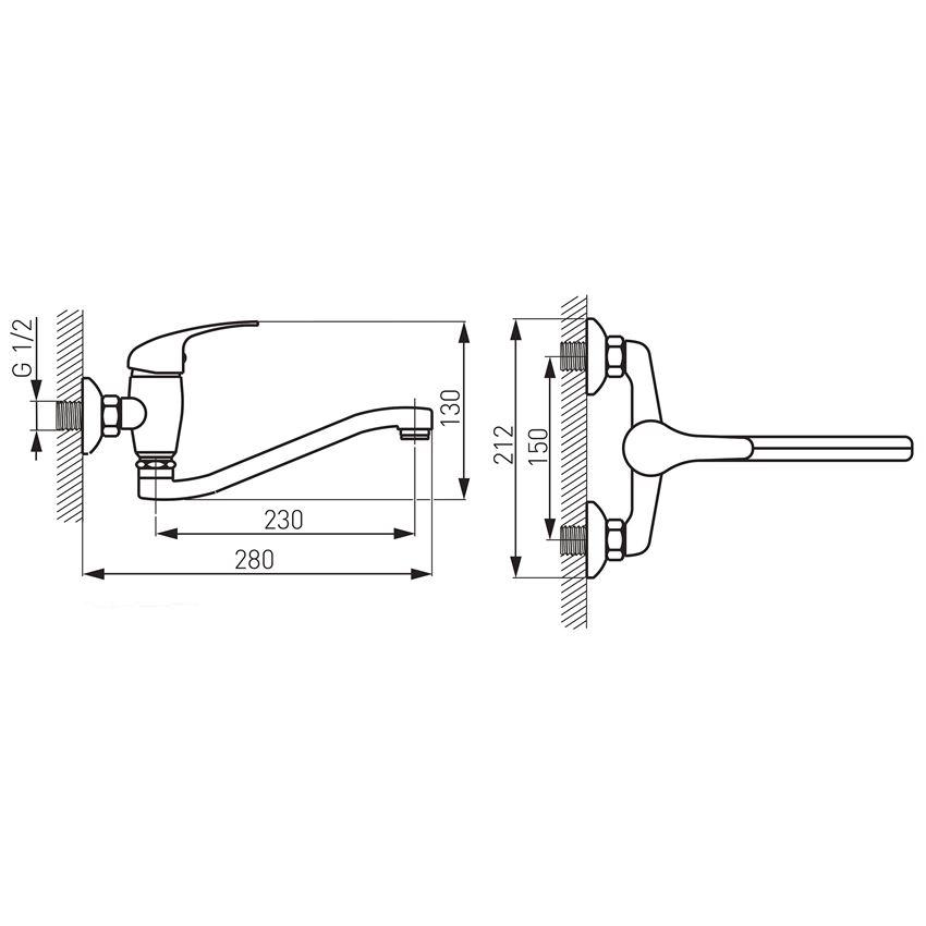 Bateria umywalkowa / zlewozmywakowa ścienna Ferro Titania Iris rysunek techniczny