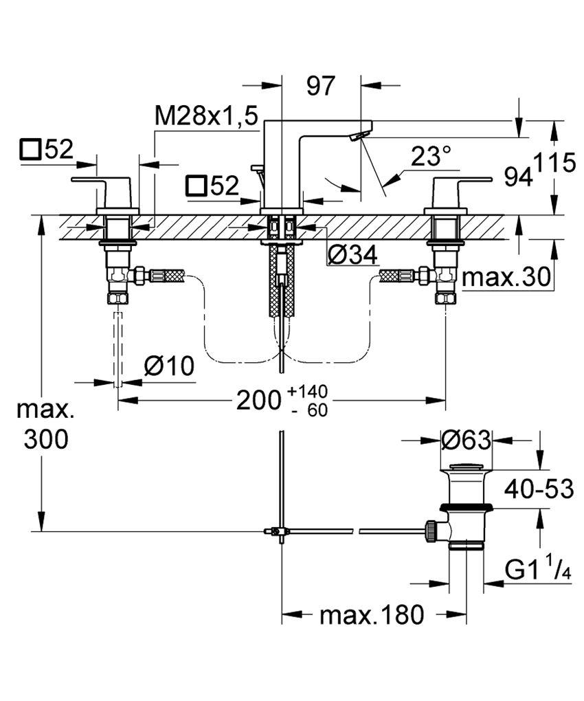 3-otworowa bateria umywalkowa Grohe Eurocube rysunek techniczny