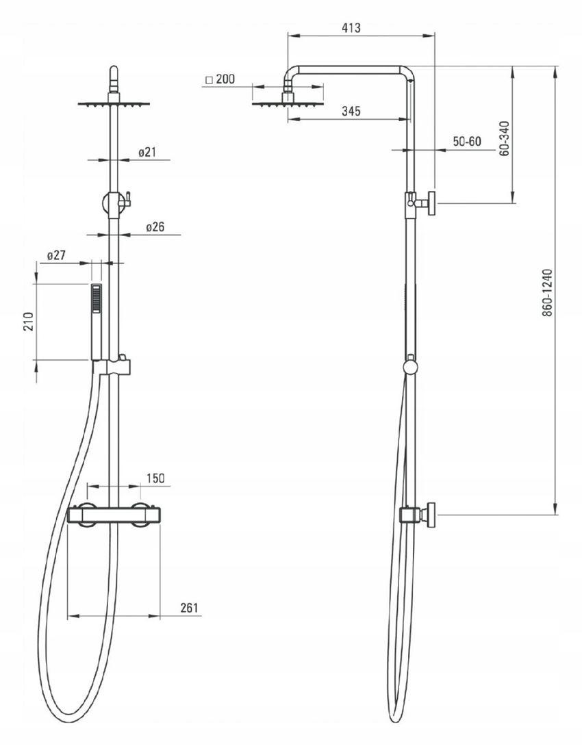 Deszczownia z baterią termostatyczną Deante Begonia rysunek techniczny