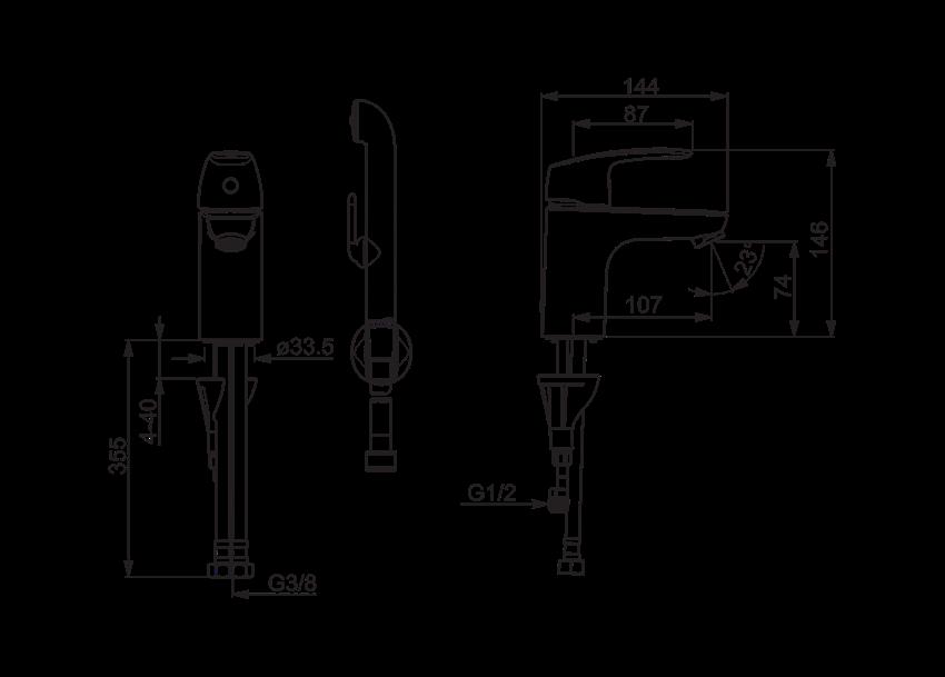 Bateria umywalkowa z rączką Bidetta Oras Safira rysunek
