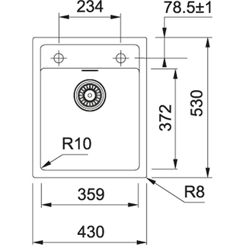 Zlewozmywak 1-komorowy Franke Sirius SID 610-40 rysunek techniczny