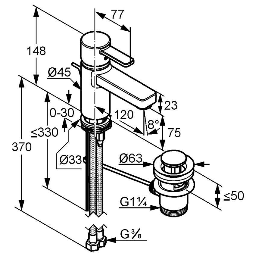 Jednouchwytowa bateria umywalkowa Kludi Zenta Black&White rysunek techniczny