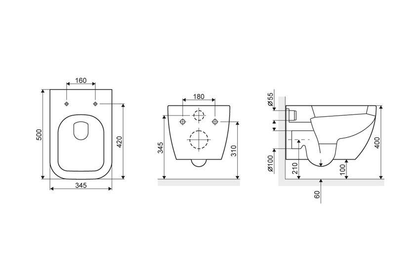 Bezrantowa miska wisząca WC z deską Excellent Ness rysunek