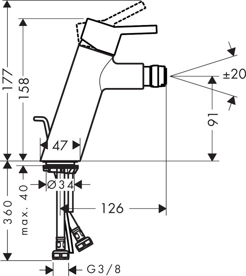 Jednouchwytowa bateria bidetowa z cięgłem Hansgrohe Talis rysunek techniczny
