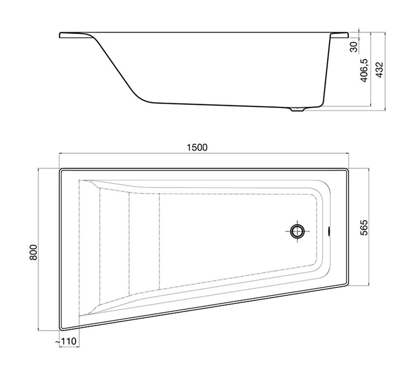 Asymetryczna narożna wanna z hydromasażem Effects Titanium Lewa 150x80 cm Roca Easy rysunek techniczny