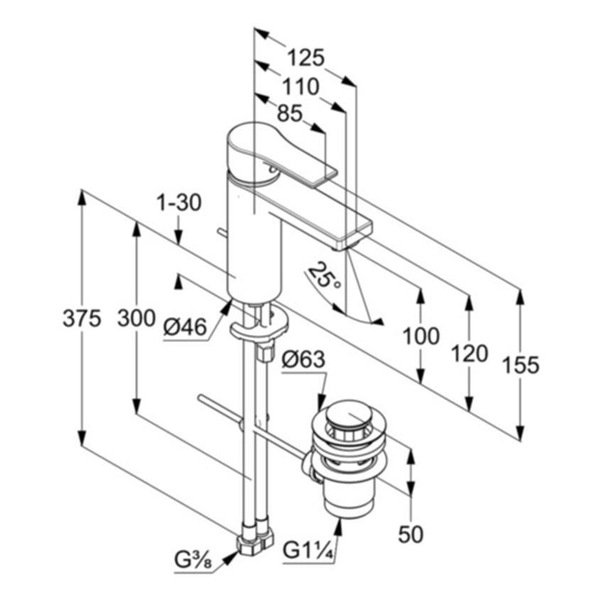 Jednouchwytowa bateria umywalkowa 15,5 cm Kludi Zenta SL rysunek techniczny