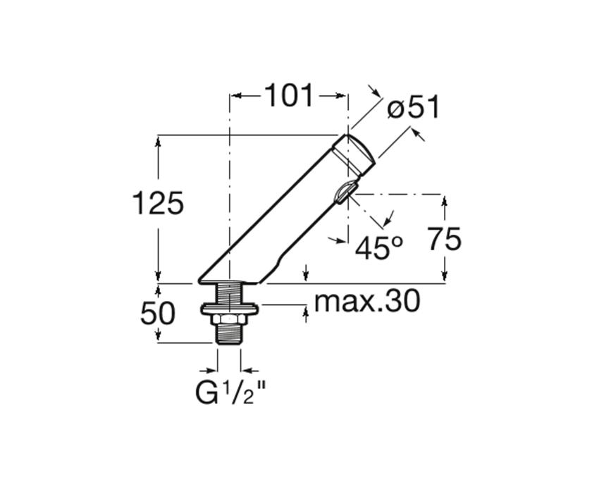 Bateria umywalkowa czasowa stojąca rysunek techniczny