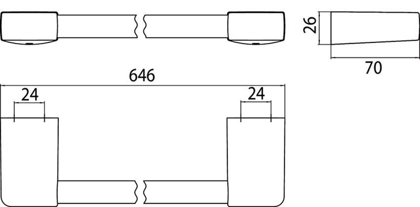Wieszak na ręcznik 60 cm Emco Trend rysunek techniczny