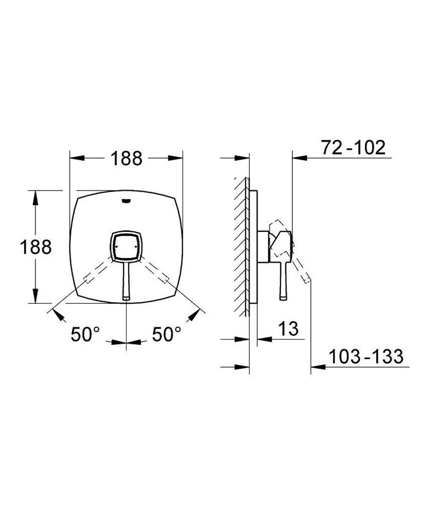 Bateria prysznicowa jednouchwytowa Grohe Grandera rysunek techniczny