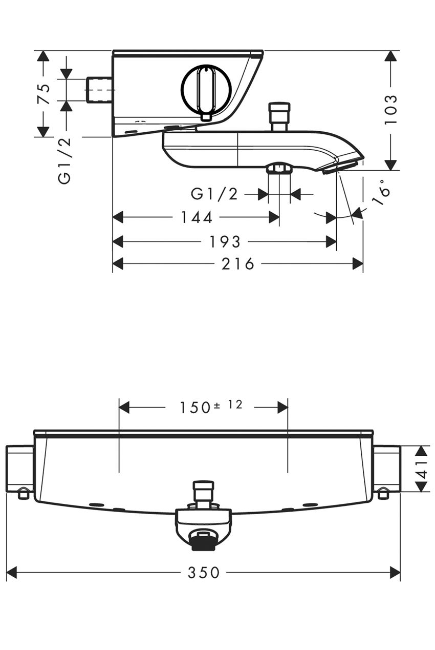Bateria termostatyczna wannowa Hansgrohe Ecostat Select rysunek
