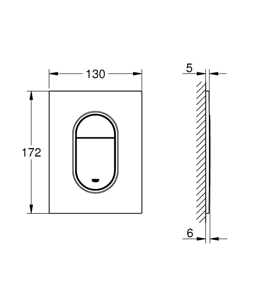 Przycisk spłukujący Grohe Arena Cosmopolitan S rysunek techniczny