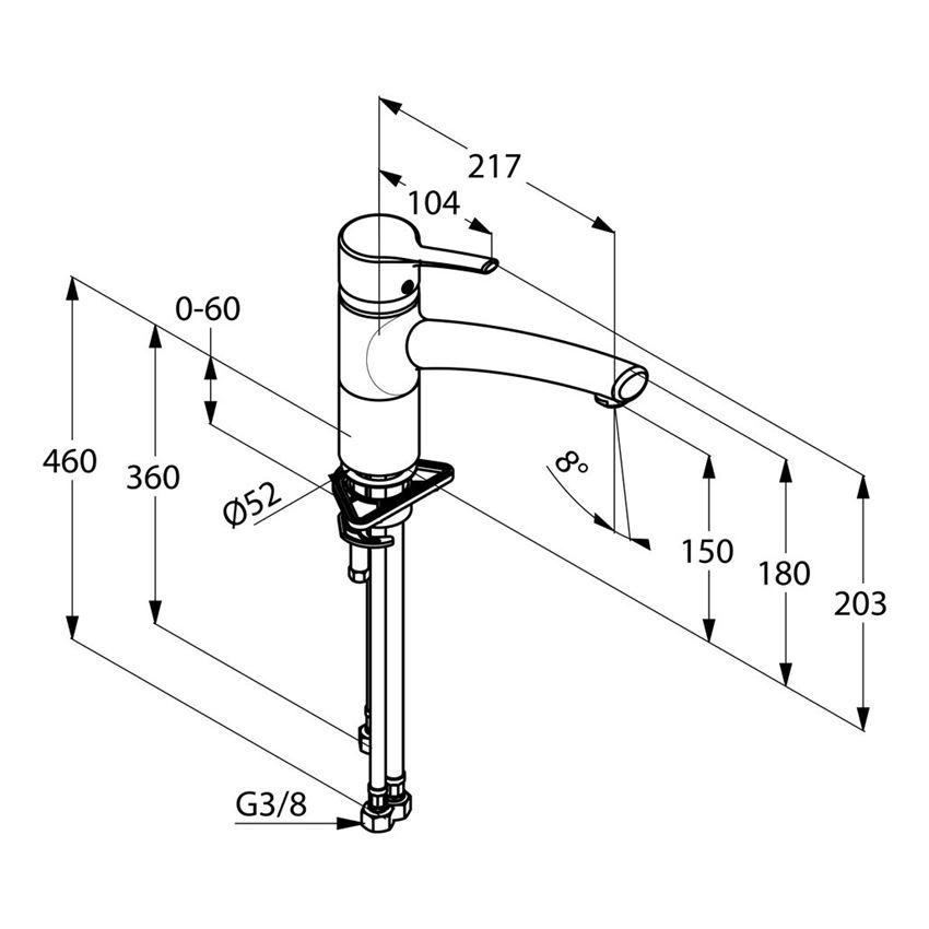 Jednouchwytowa bateria kuchenna DN 15 Kludi Trendo rysunek techniczny