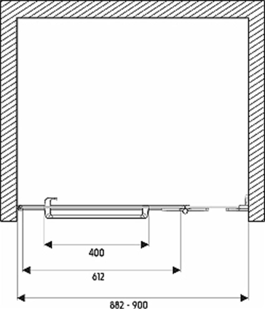 Drzwi prawostronne z relingiem 90x195 cm Koło Next rysunek techniczny