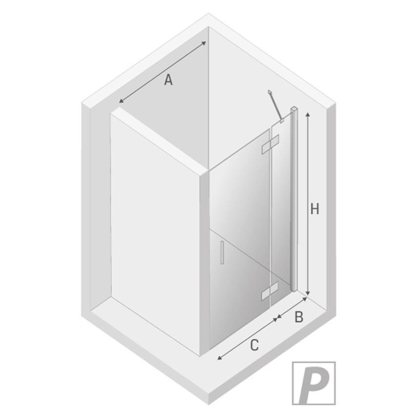 Drzwi prysznicowe prawe New Trendy New Renoma prawa rysunek techniczny