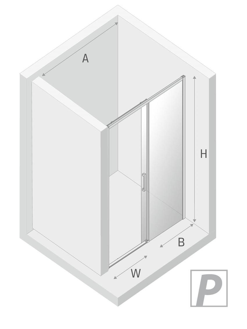 Drzwi prysznicowe prawe przesuwne New Trendy Prime Black rysunek