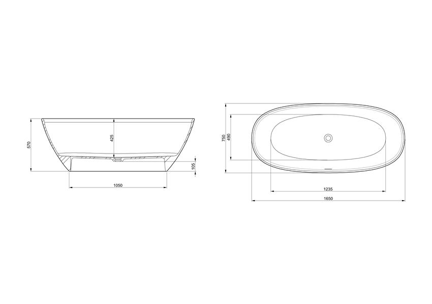 Owalna wanna wolnostojąca 165x75 cm Roca Ariane rysunek techniczny