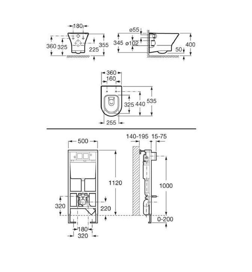 Zestaw podtynkowy Duplo + miska WC podwieszana Nexo 50x67,5x112 cm Roca Nexo rysunek techniczny