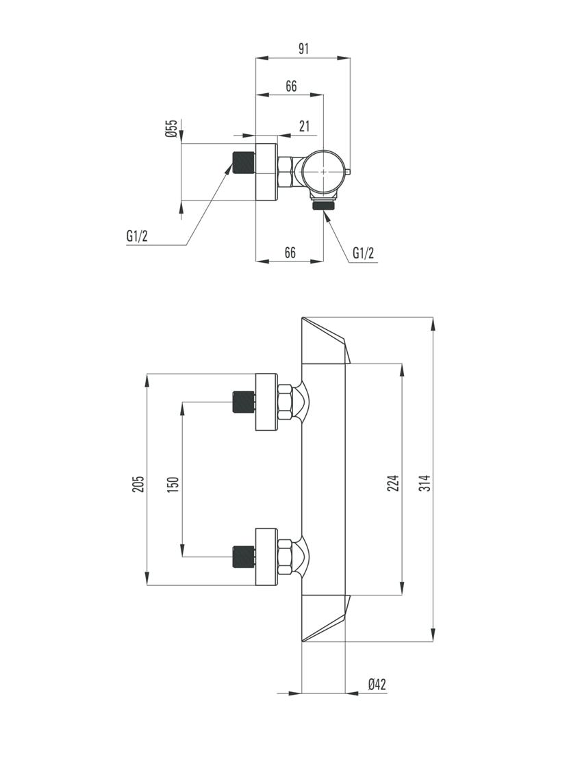 Bateria natryskowa bez kompletu natryskowego Deante Arnika Nero rysunek techniczny