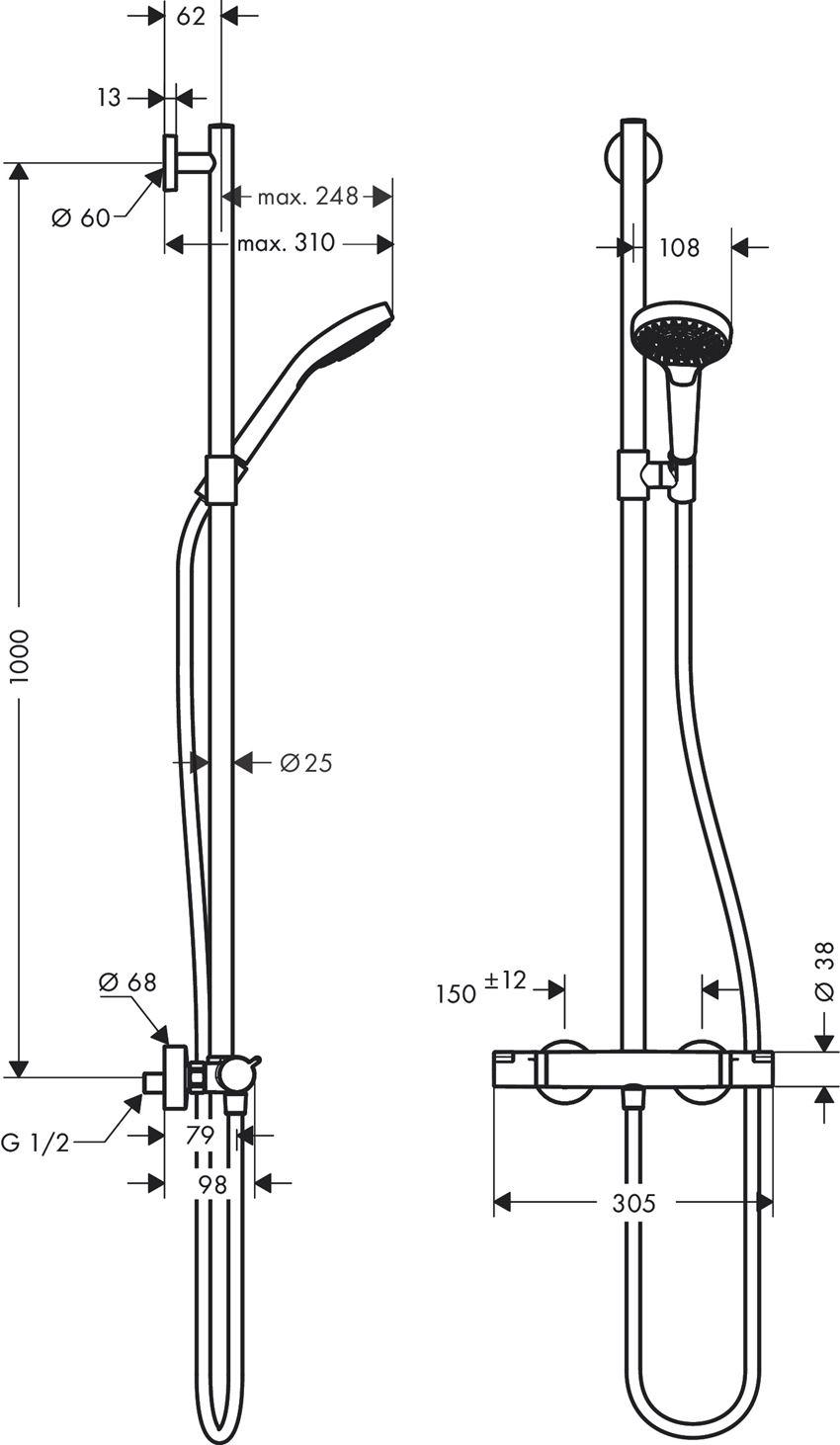 Komplet prysznicowy SemiPipe Multi z termostatem Hansgrohe Croma Select S rysunek techniczny