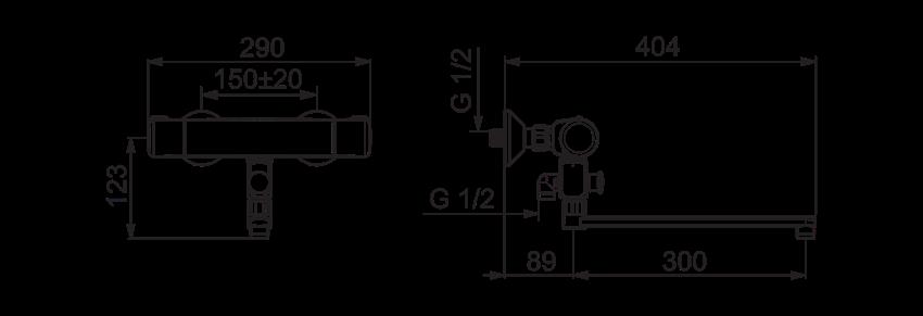 Termostatyczna bateria natryskowa Oras Nova rysunek techniczny