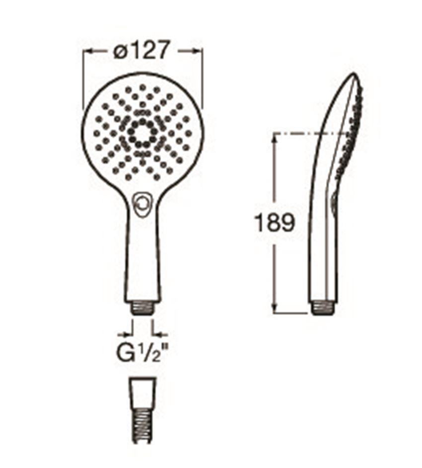 Słuchawka prysznicowa 127/3 chrom/biały Roca Plenum rysunek techniczny