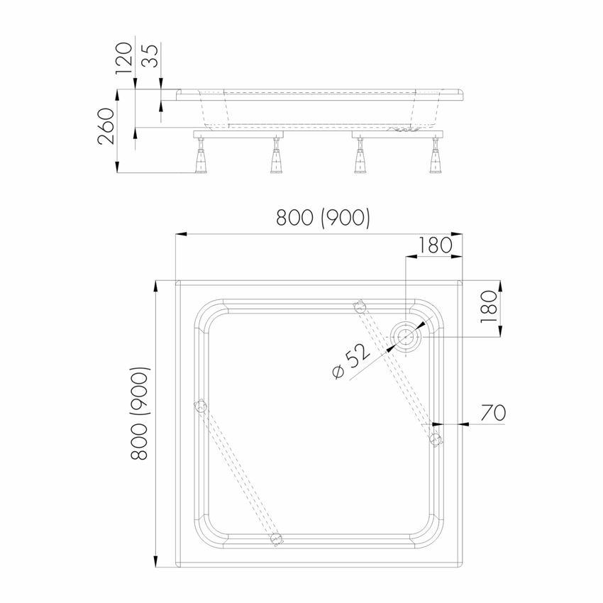 Brodzik kwadratowy Schedpol Zefir rysunek techniczny