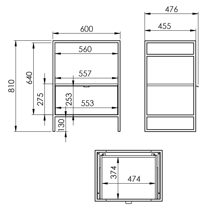 Szafka podumywalkowa 60x81x45,5 cm 1S Dąb Canela/Black Matt Elita Indus rysunek