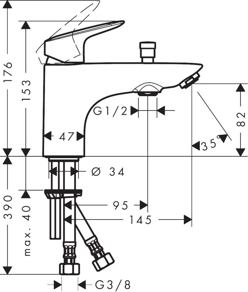 Jednouchwytowa bateria wannowa i prysznicowa Monotrou Hansgrohe Logis rysunek techniczny