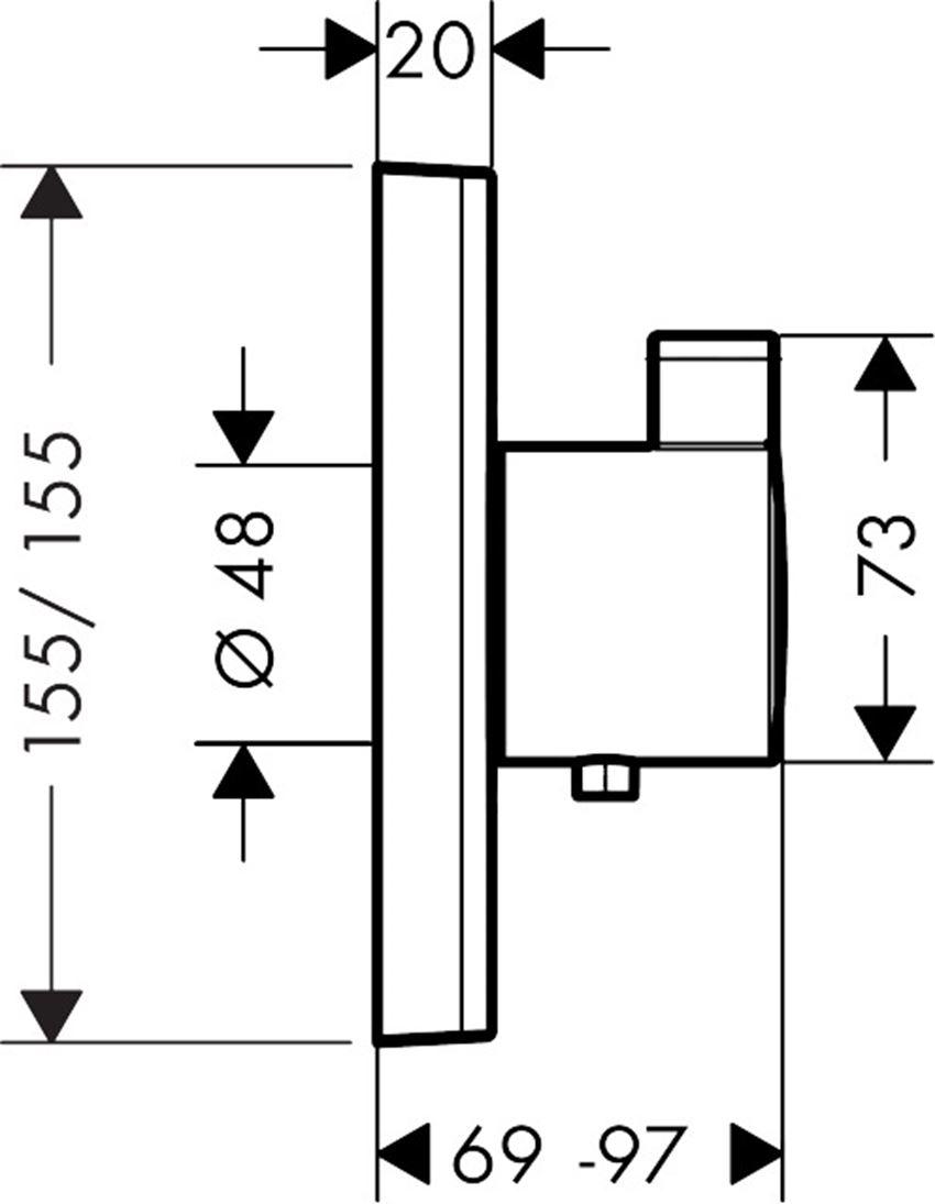 Bateria termostatyczna HighFlow element zewnętrzny Hansgrohe ShowerSelect rysunek techniczny