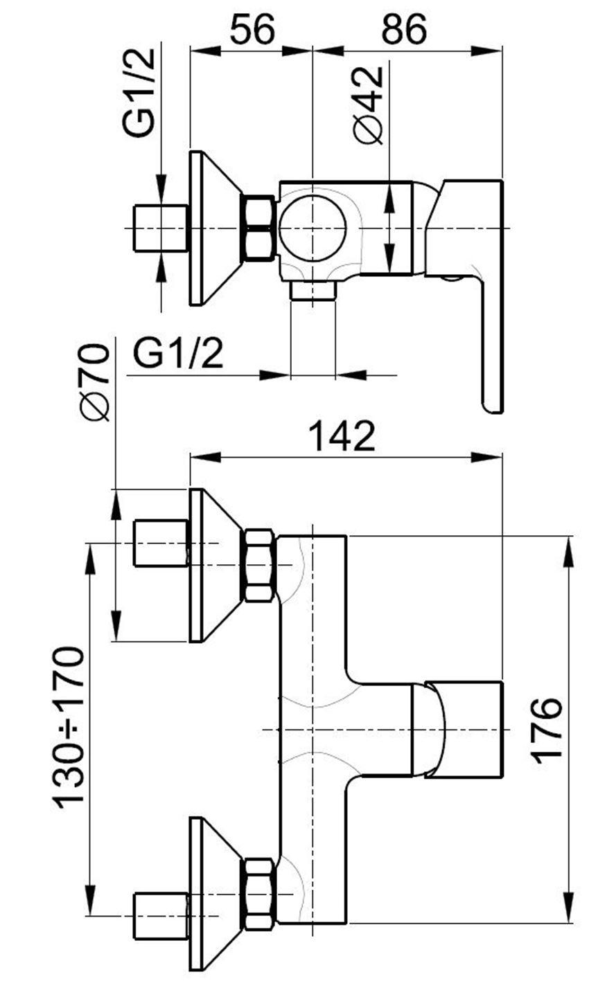 Jednouchwytowa bateria prysznicowa KFA Sodalit rysunek techniczny