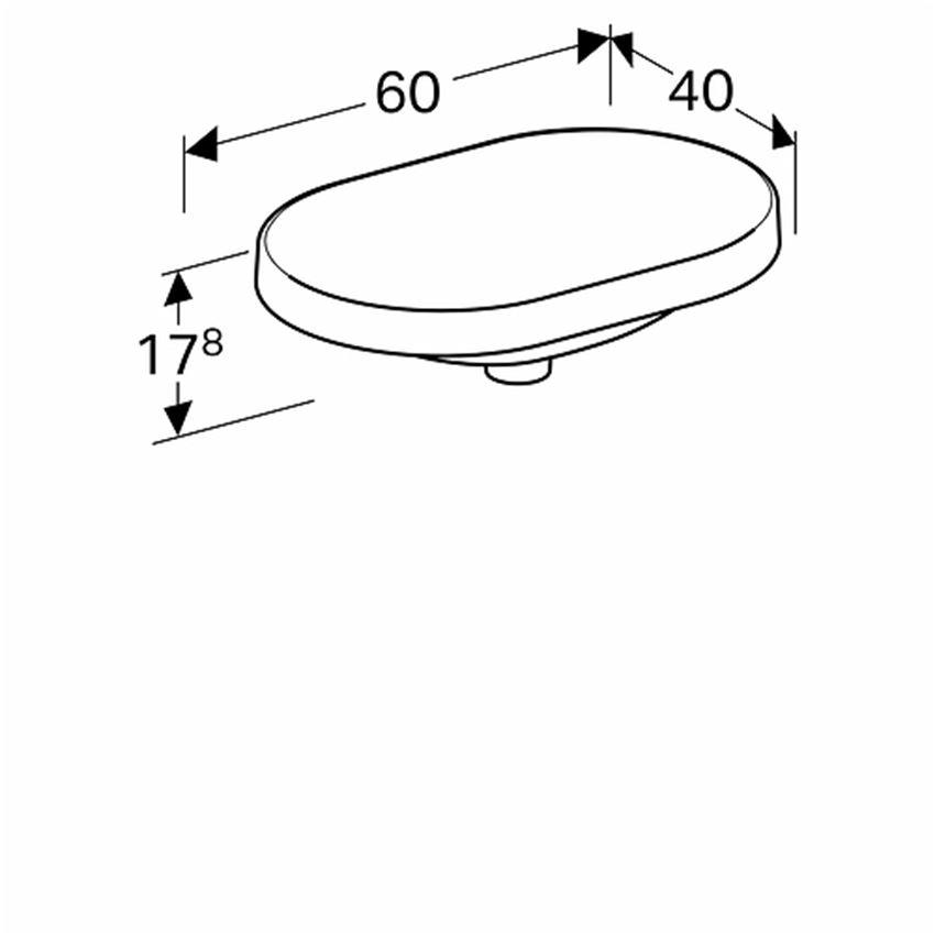 Umywalka eliptyczna wpuszczana w blat bez otworu i bez przelewu 60 cm Koło VariForm rysunek