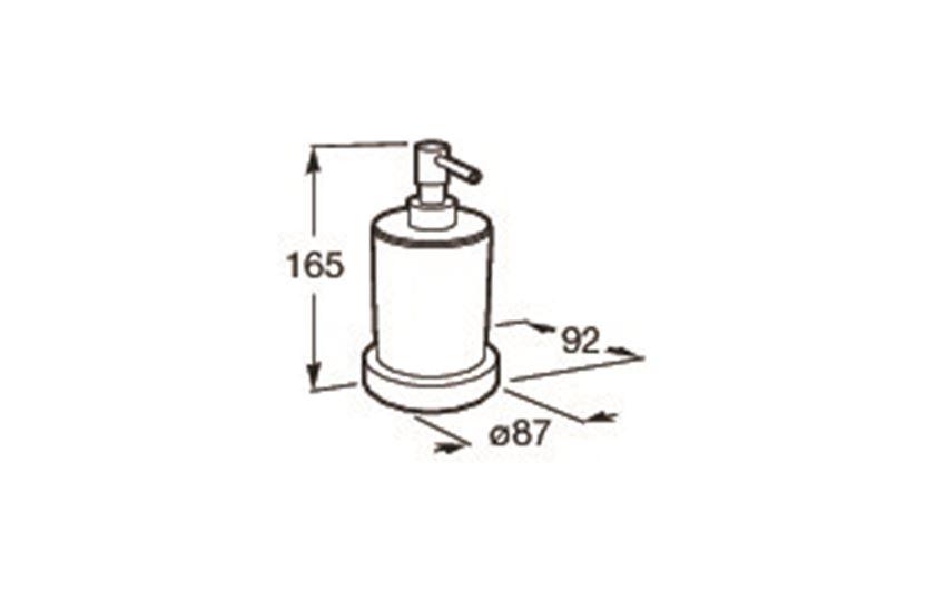 Dozownik szklany nablatowy 8,7x8,7x16,5 cm Roca Tempo rysunek techniczny