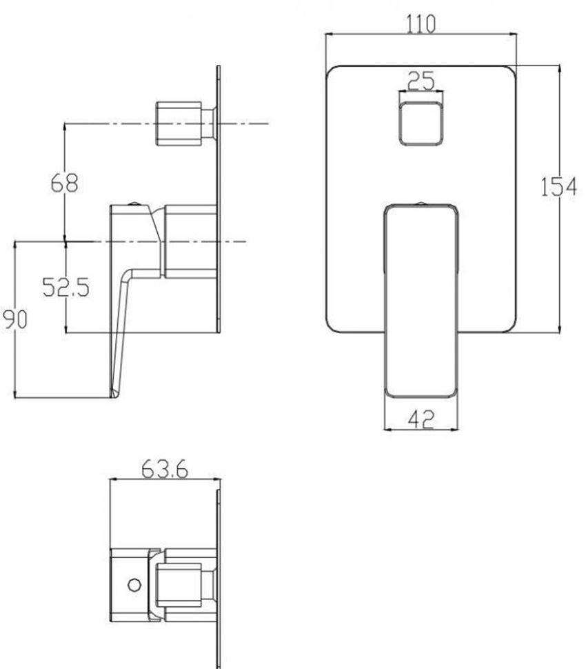 Bateria wannowa, podtynkowa Omnires Parma rys.techniczny