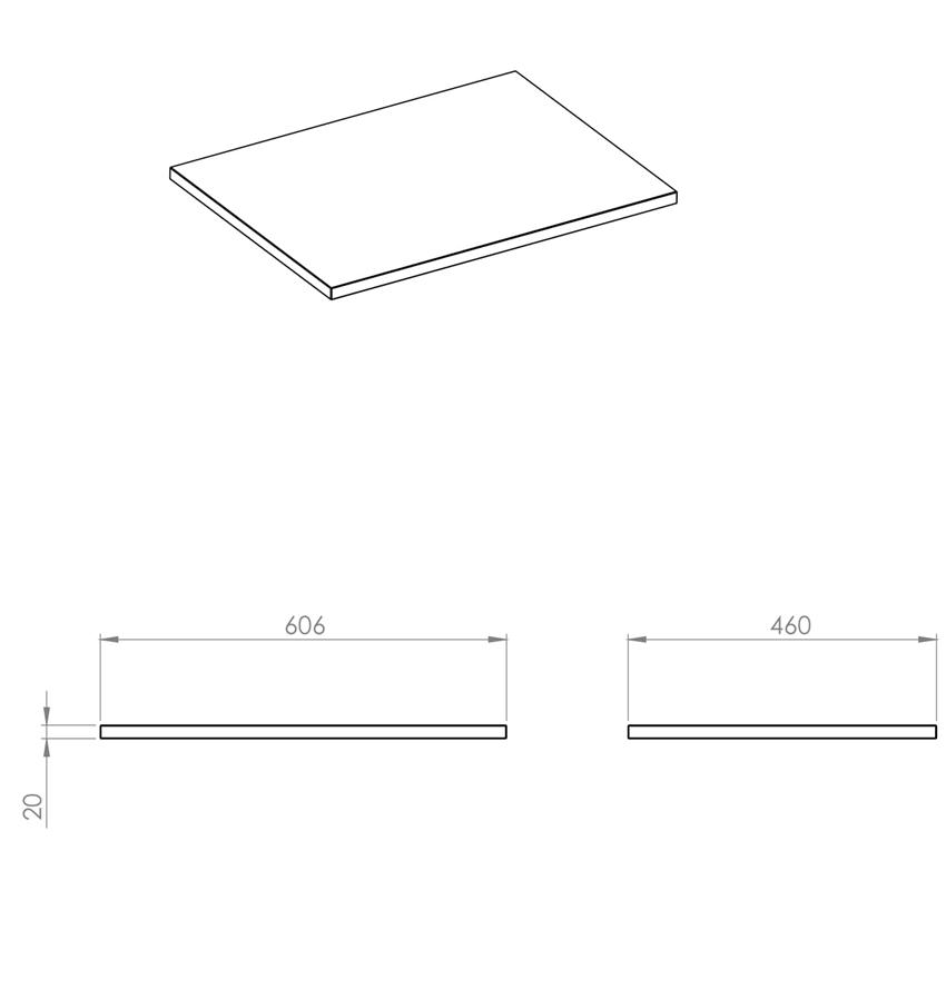 Blat naszafkowy pełny 60 cm Elita ElitStone rysunek