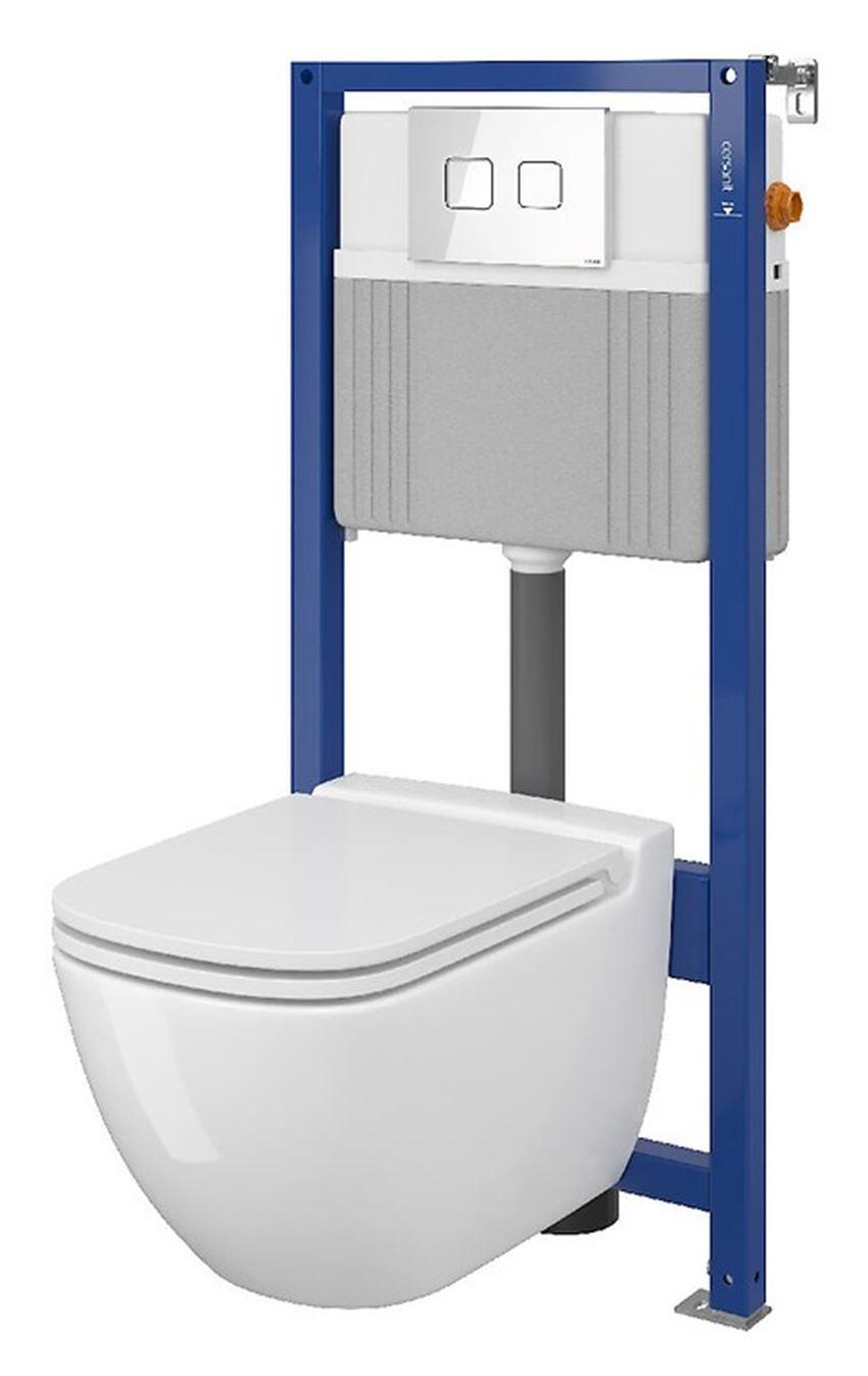 Zestaw stelaż podtynkowy do WC z miską, deską i przyciskiem Cersanit Aqua