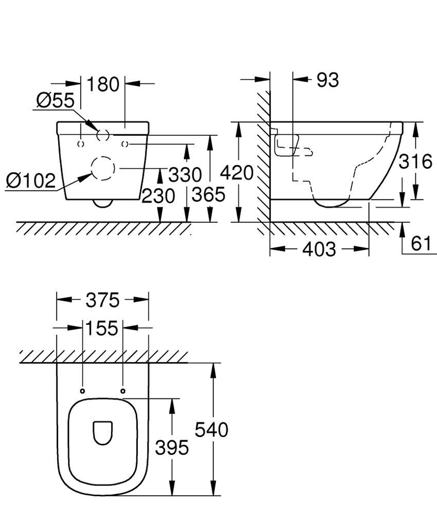 Miska WC wisząca Grohe Euro Ceramic rysunek techniczny