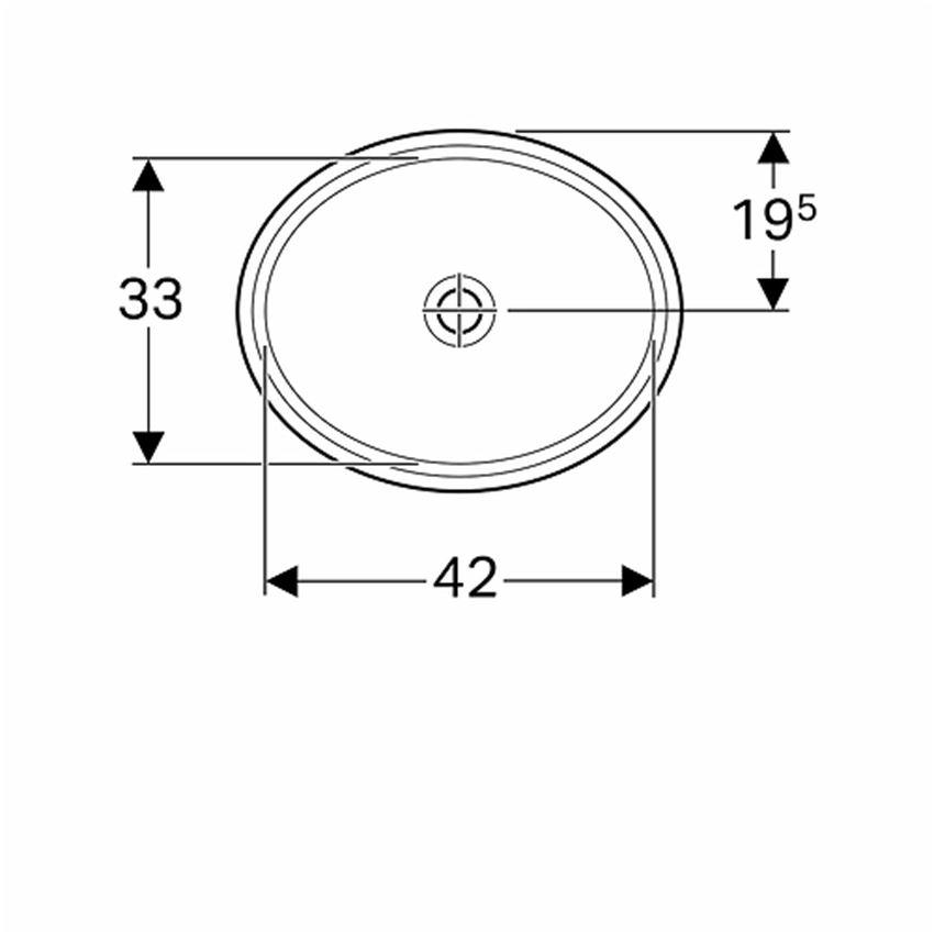 Umywalka podblatowa owalna 42x33 cm bez otworu i przelewu Koło VariForm rysunek