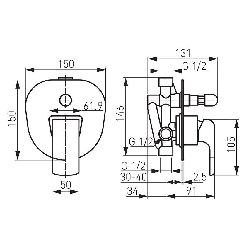Bateria wannowo-natryskowa podtynkowa Ferro Kvadro rysunek techniczny