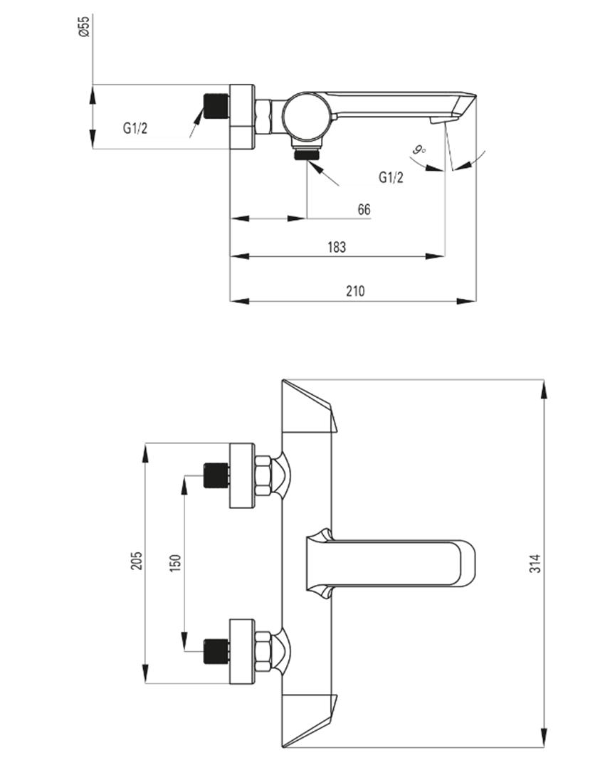 Bateria wannowa bez kompletu natryskowego Deante Arnika Titanium rysunek