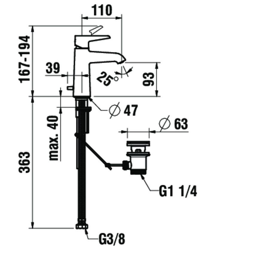 Bateria umywalkowa jednouchwytowa z korkiem automatycznym Laufen Val rysunek techniczny