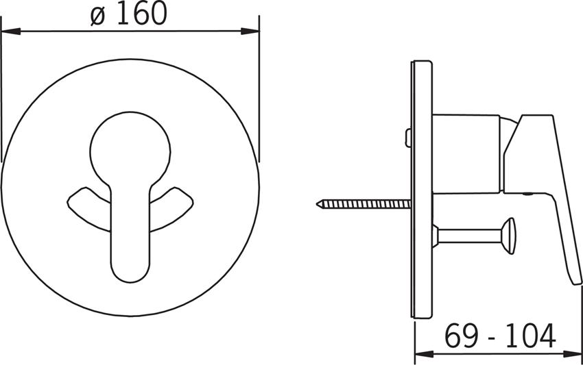 Element podtynkowy do baterii wannowo-natryskowej Oras Aquita 2988 rys. techniczny