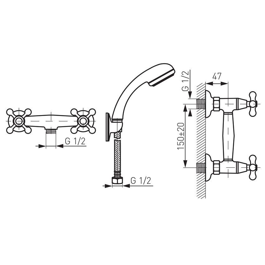 Bateria natryskowa ścienna Ferro Retro rysunek techniczny