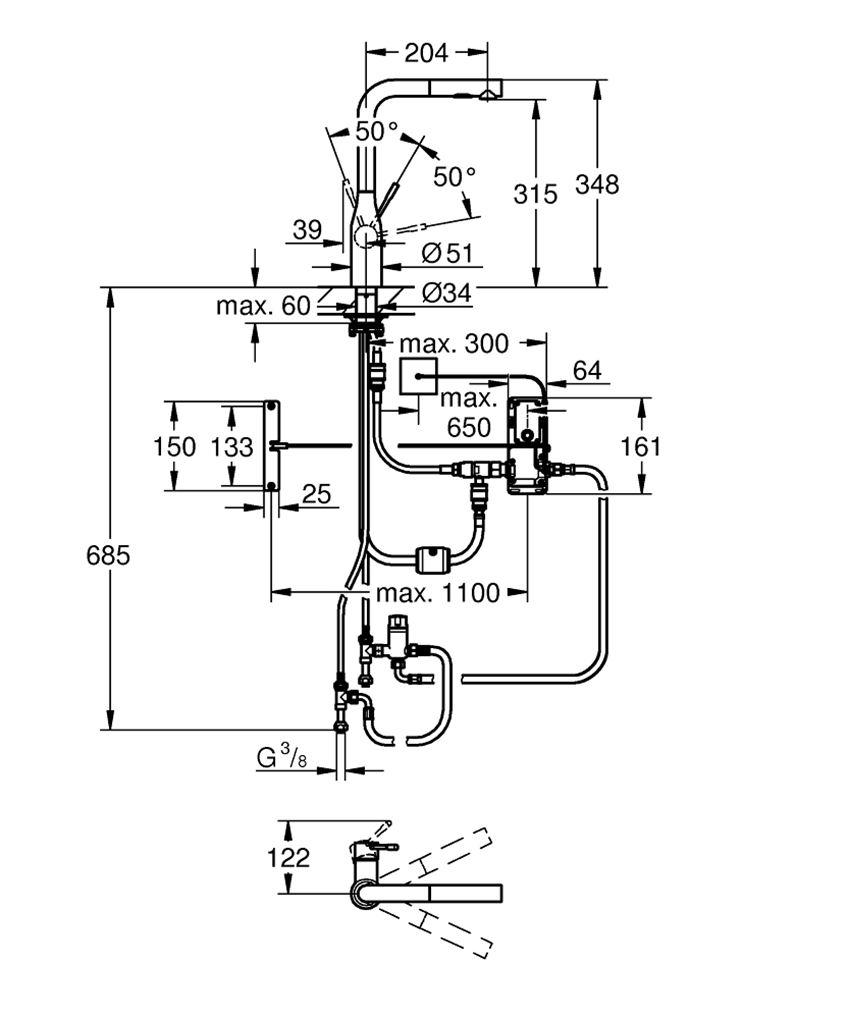 Elektroniczna jednouchwytowa bateria kuchenna stal nierdzewna, 34,8 cm Grohe Essence Foot Control rysunek techniczny