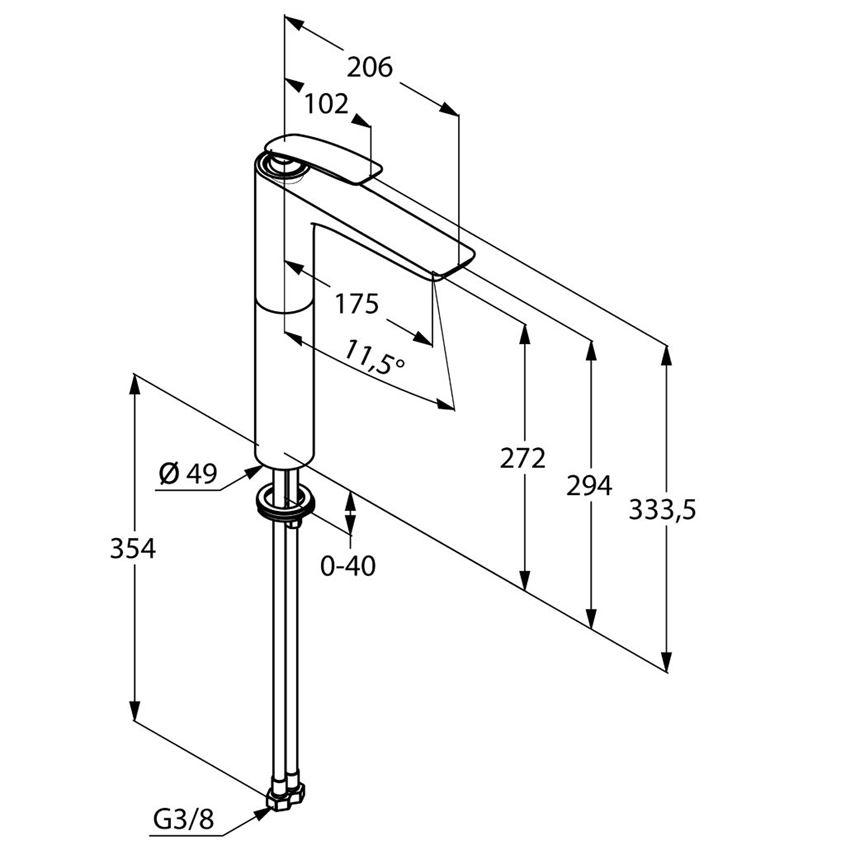 Jednouchwytowa bateria umywalkowa 33,3 cm rysunek techniczny