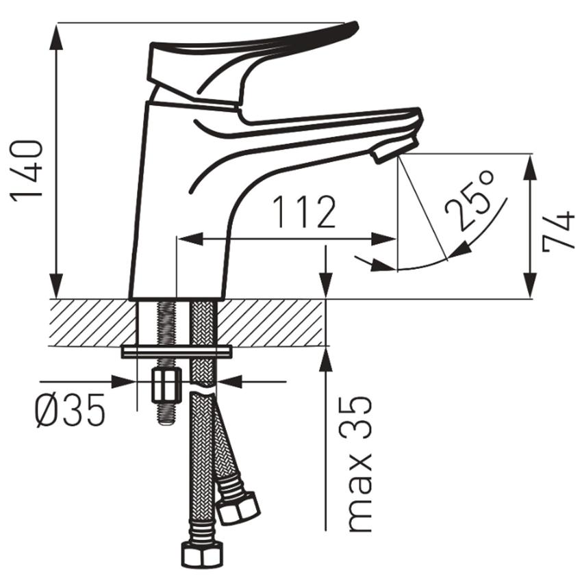 Bateria umywalkowa stojąca z korkiem click-clack FDesign Brezza rysunek