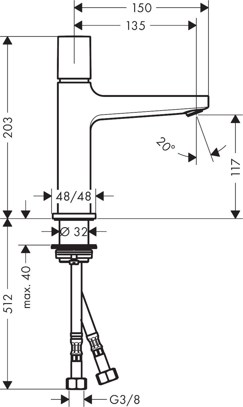 Bateria umywalkowa 110 Select z kpl. odpływowym Push-Open Hansgrohe Metropol rysunek techniczny