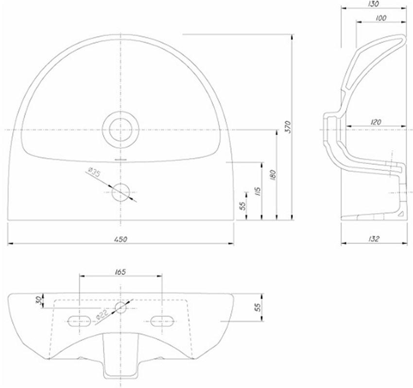Umywalka półokrągła 45 cm Koło Nova Pro rysunek techniczny