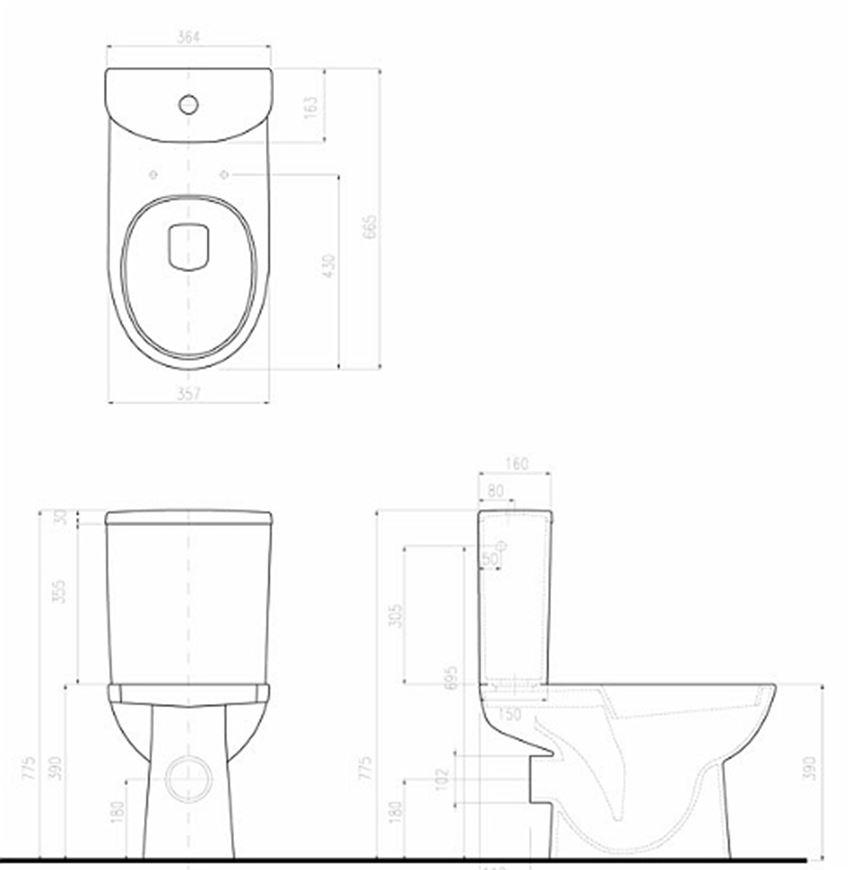 Miska kompaktowa 66,5x35,7 cm Koło Nova Pro rysunek techniczny