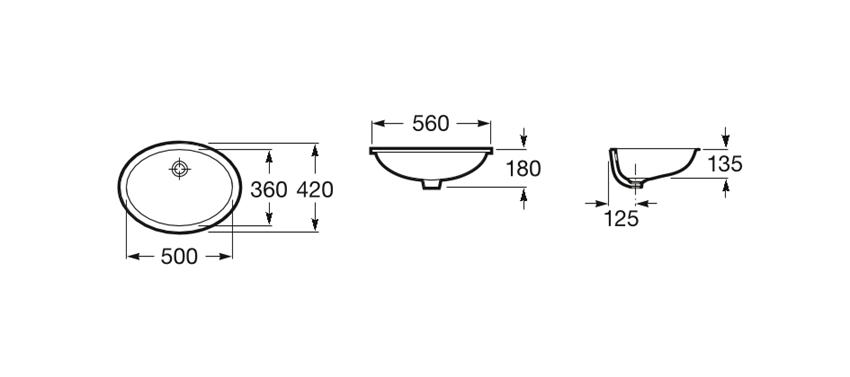 Umywalka podblatowa 56x42x18 cm Roca Berna rysunek techniczny