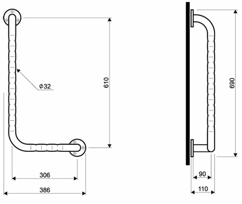 Poręcz kątowa lewa 90° 30x61 cm Koło Lehnen Funktion rysunek techniczny